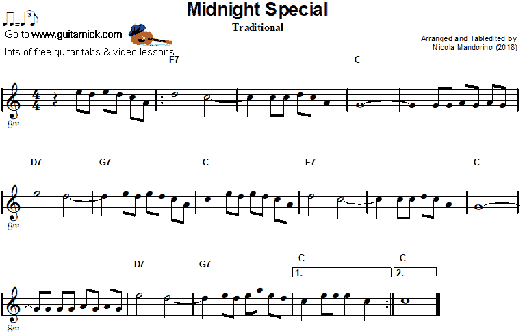 Midnight Special- easy guitar sheet music