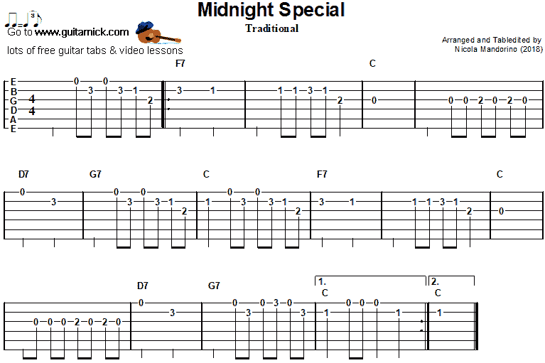 Midnight Special- easy guitar tab