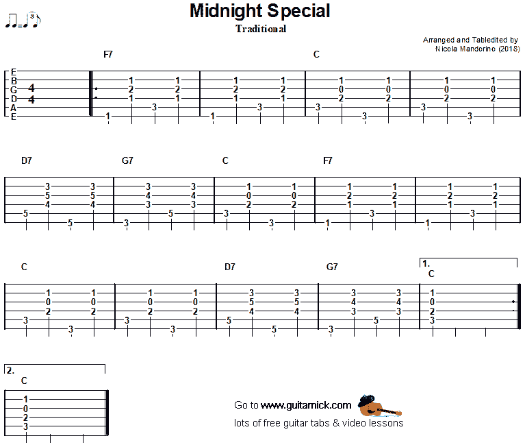 Midnight Special -  guitar chords