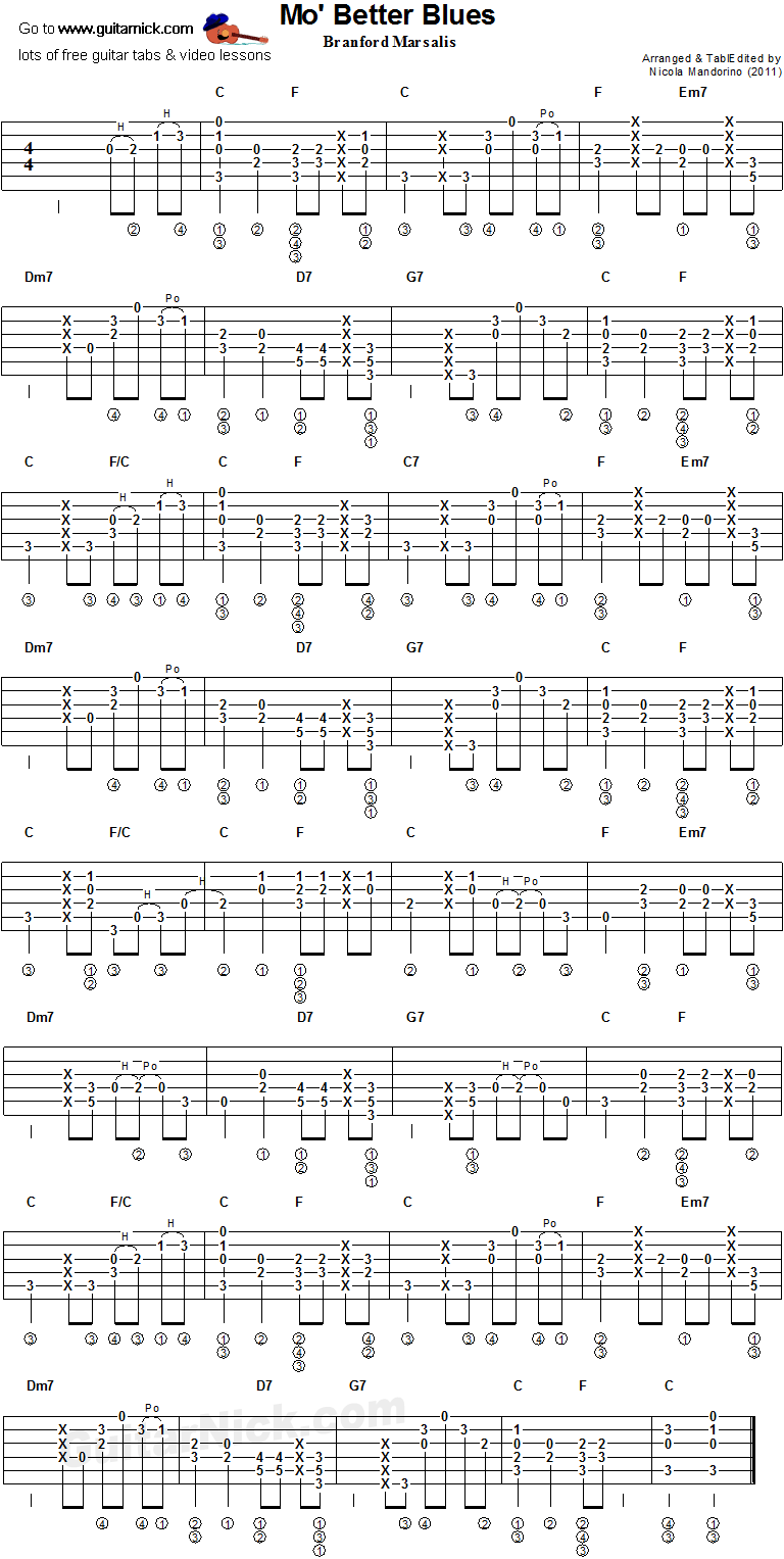 Mo' Better Blues- fingerstyle guitar tab
