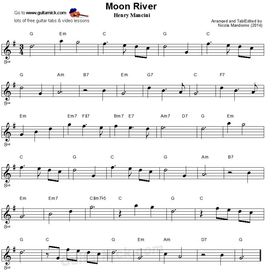MOON RIVER Easy Guitar Lesson: GuitarNick.com
