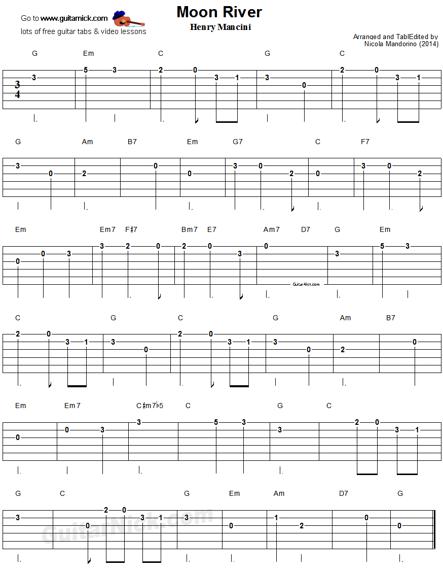 Moon River - easy guitar tablature