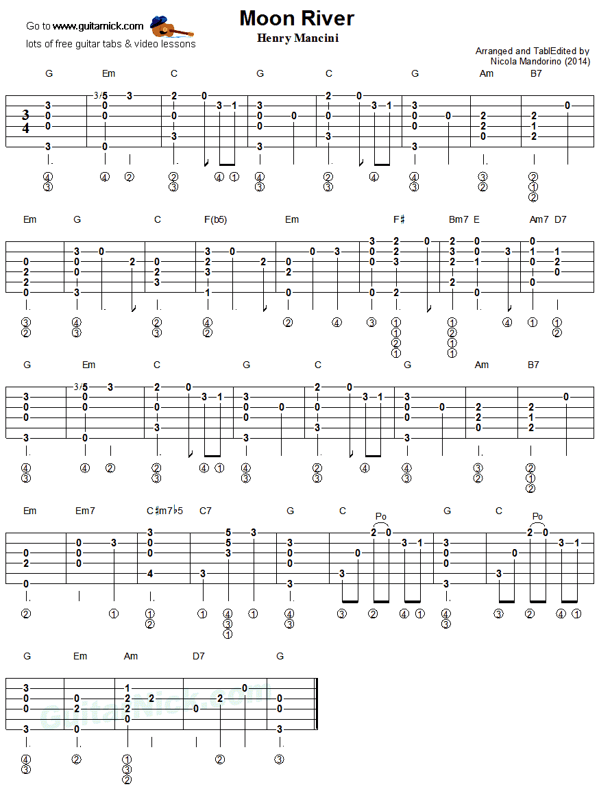 Moon River - fingerstyle guitar tab
