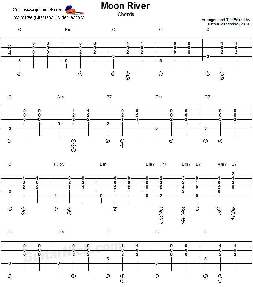 Moon River - guitar chords tablature 1