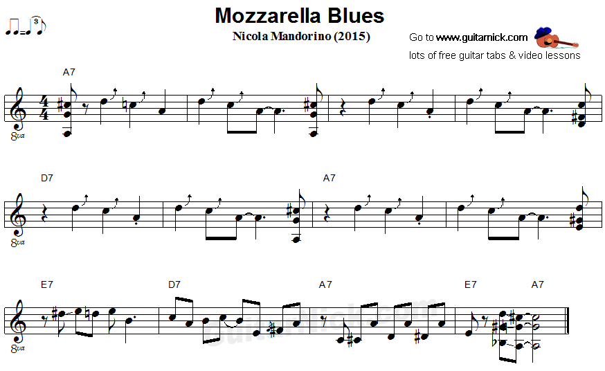 Mozzarella Blues - fingerstyle guitar sheet music