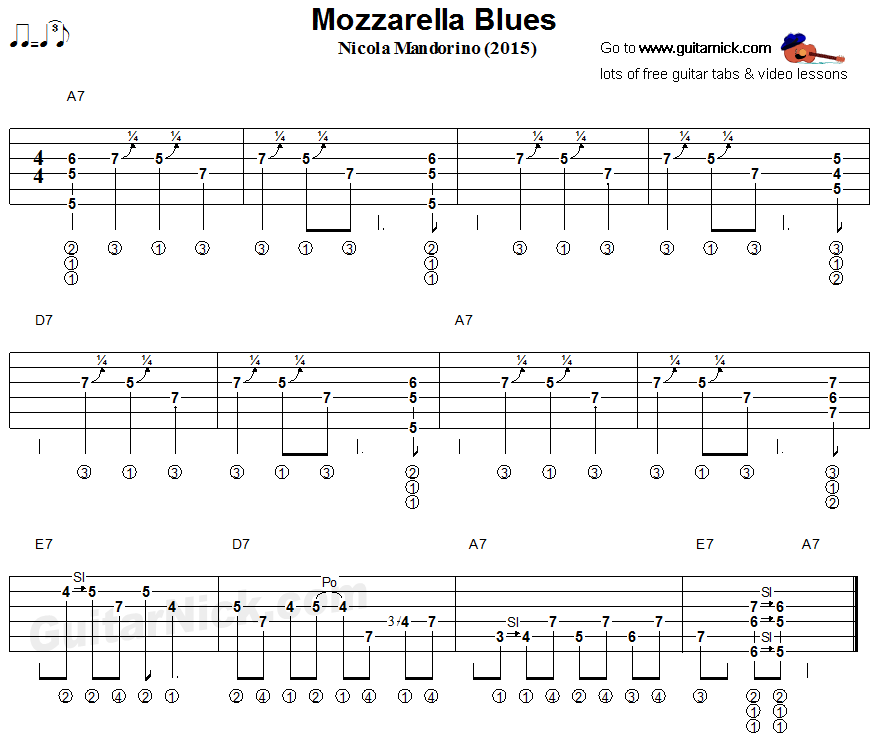 Mozzarella Blues - fingerstyle guitar tablature