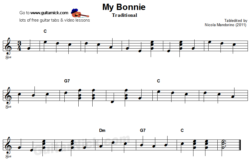 My Bonnie - easy guitar sheet music