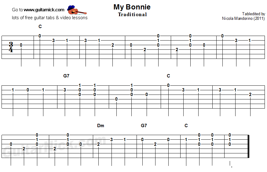 My Bonnie - easy guitar tablature