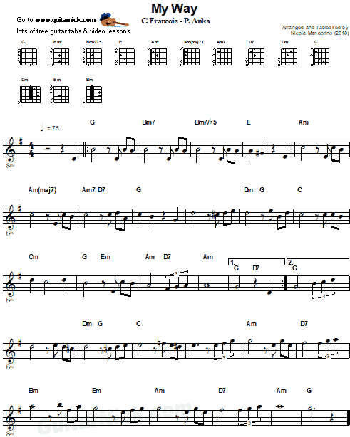 My Way - Frank Sinatra - Easy Guitar Sheet