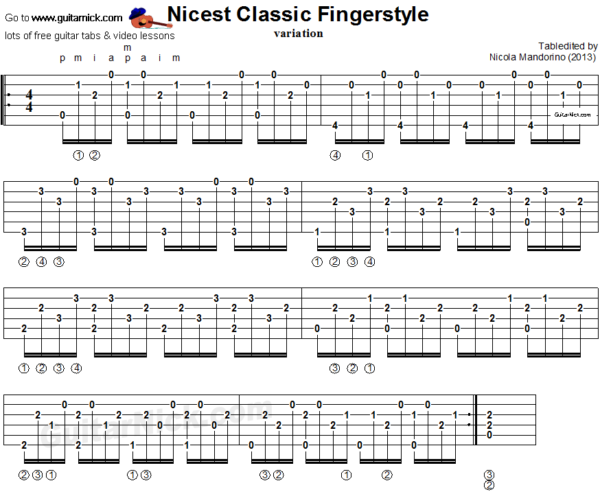 Nicest Classic Fingerstyle - classical guitar tab 2