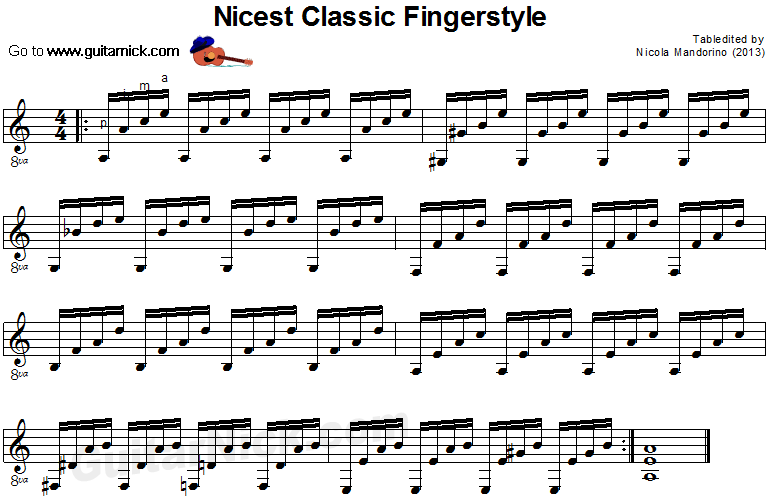 Nicest Classic Fingerstyle - classical guitar sheet music