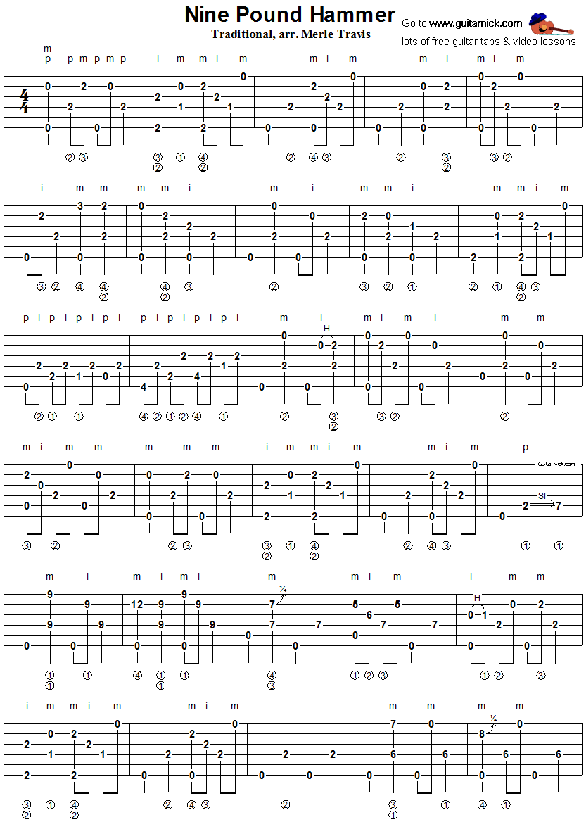 Nine Pound Hammer - fingerpicking guitar tablature 1