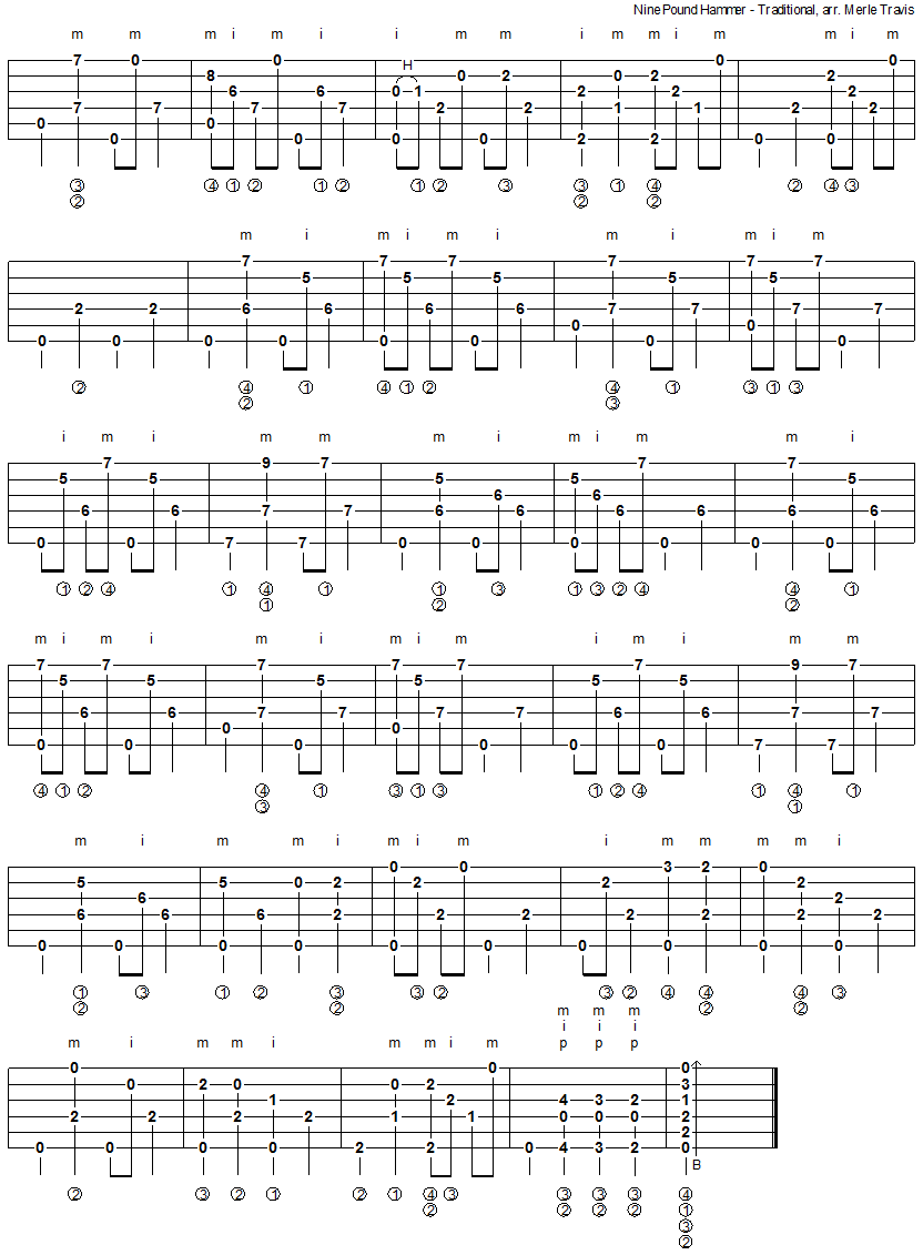 Nine Pound Hammer - fingerpicking guitar tablature 2