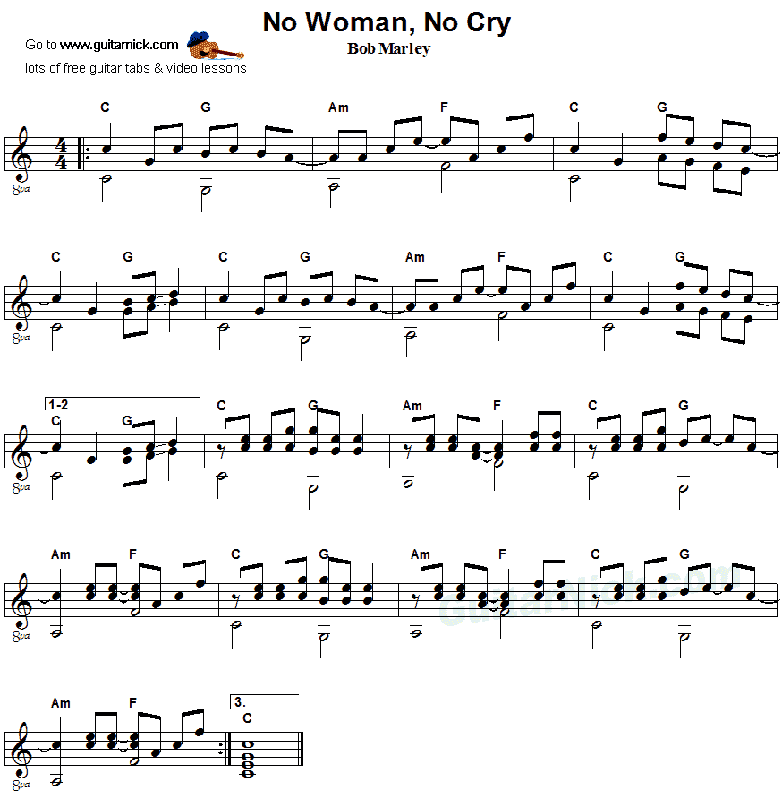 No Woman No Cry - fingerstyle guitar sheet music
