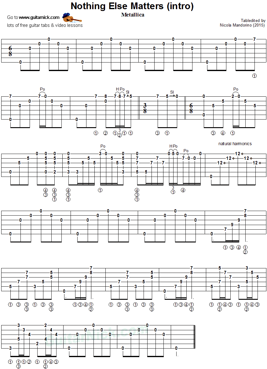 Nothing Else Matters - fingerstyle guitar tab