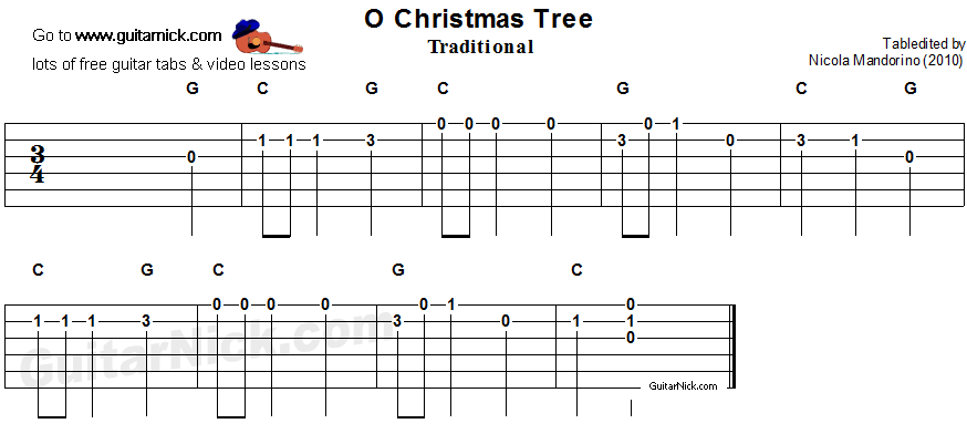 Guitar what is guitar tablature : O CHRISTMAS TREE Easy Guitar Tab: GuitarNick.com