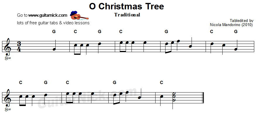 O CHRISTMAS TREE Easy Guitar Tab: GuitarNick.com