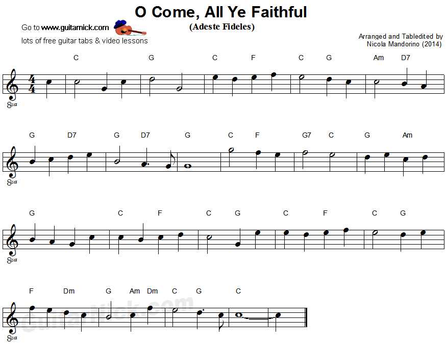 O COME ALL YE FAITHFUL Easy Guitar Tab: GuitarNick.com