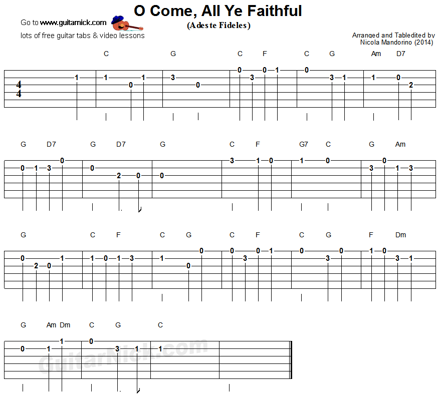 O Come, All Ye Faithful - easy guitar tablature
