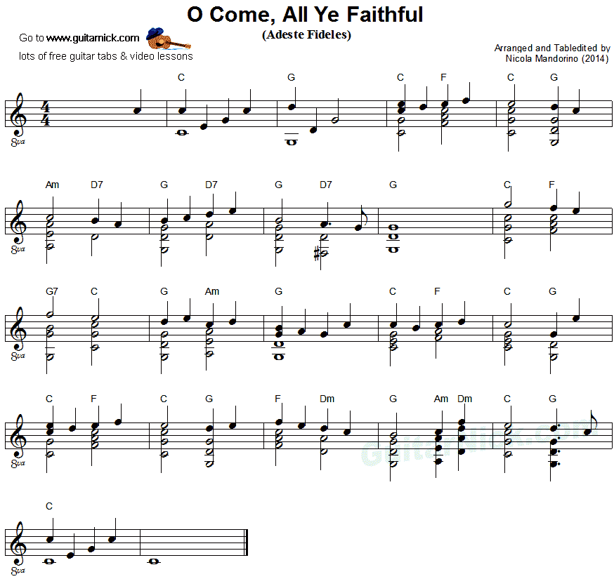 O COME ALL YE FAITHFUL Fingerstyle Guitar Lesson: GuitarNick.com