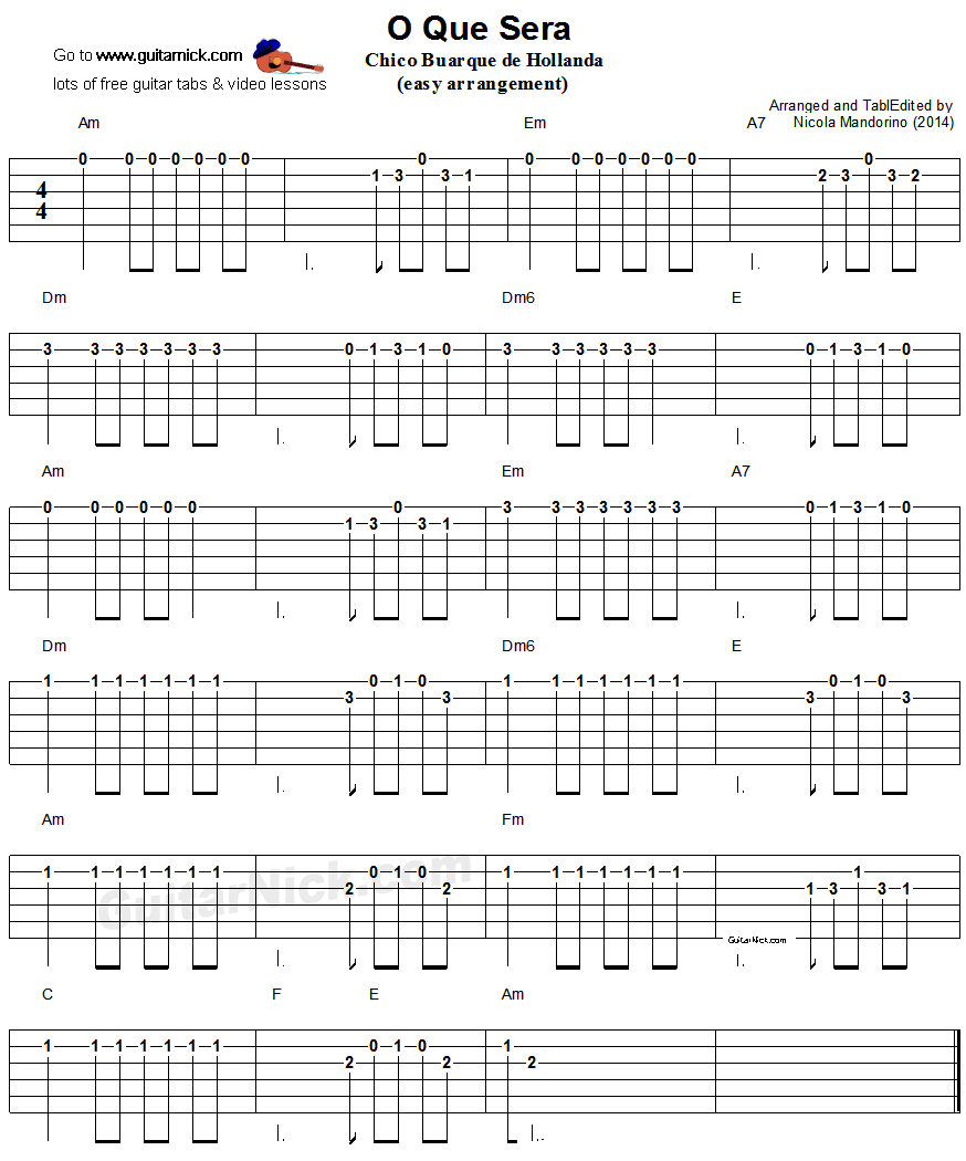 O Que Sera' - easy guitar tablature