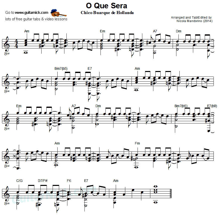 O Que Sera' - fingerstyle guitar sheet music