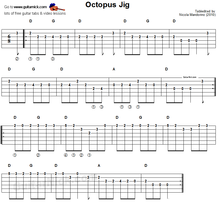 Octopus Jig - guitar tablature