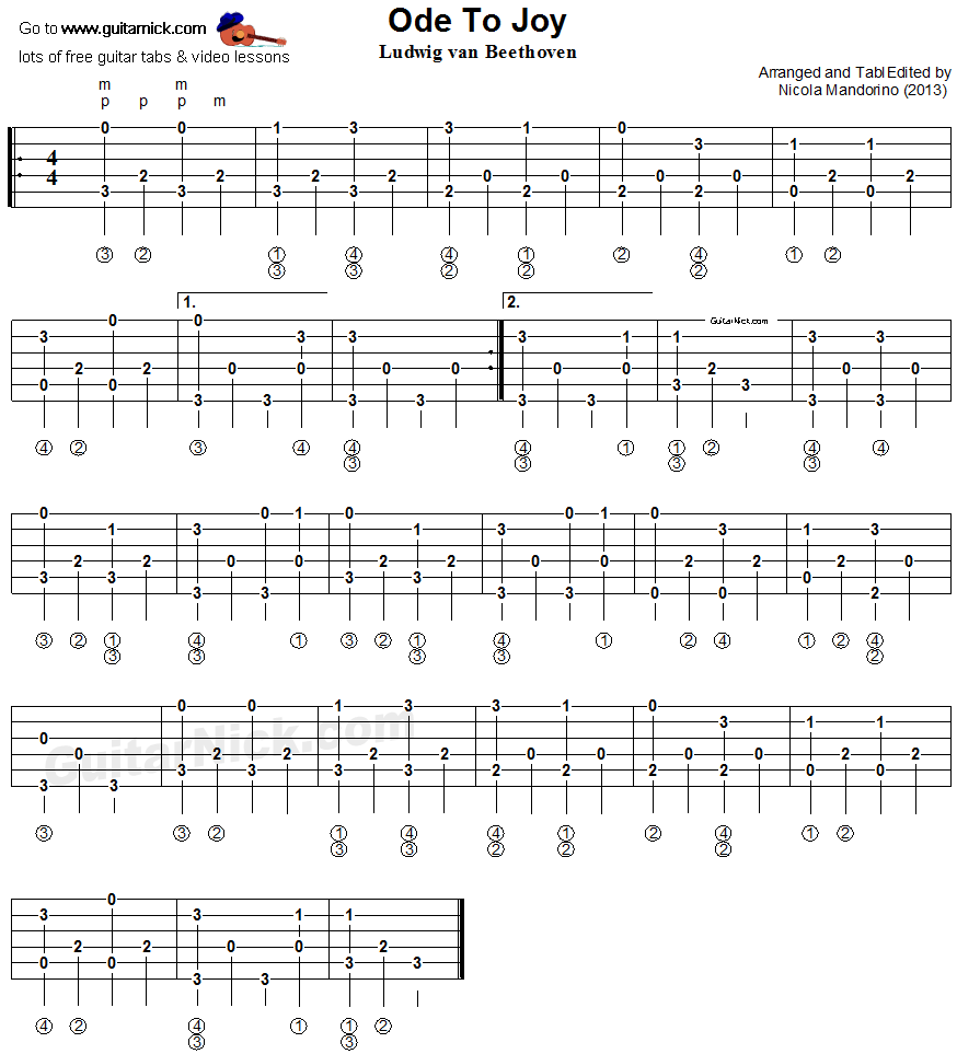Ode To Joy - Fingerpicking guitar tablature 1
