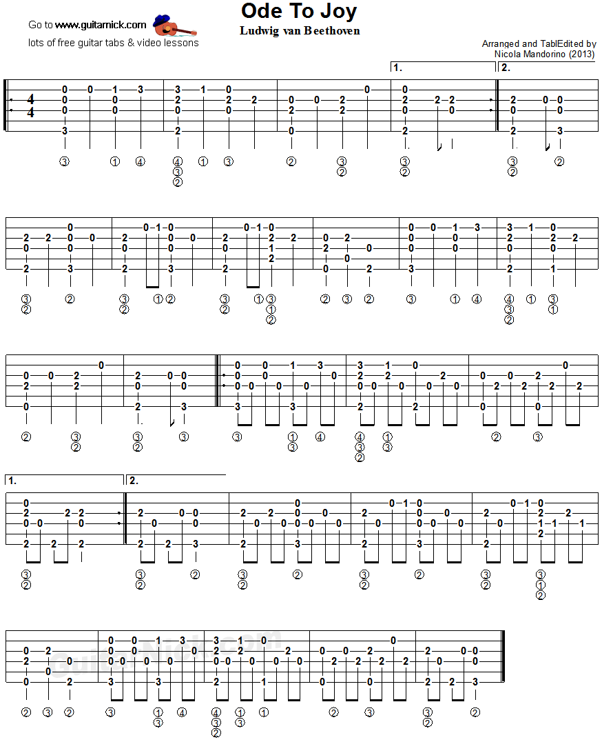 Ode To Joy - fingerstyle guitar tablature
