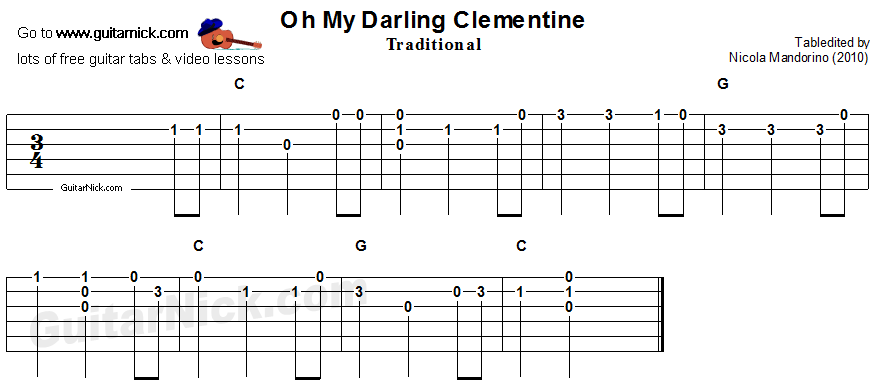 Oh My Darling Clementine - easy guitar tablature