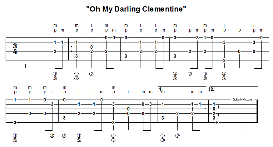 Oh My Darling Clementine - fingerpicking guitar tablature 1