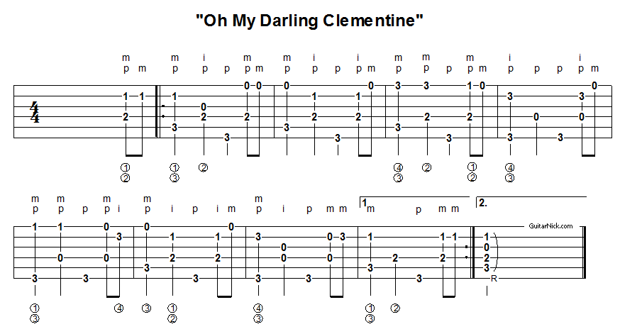 Oh My Darling Clementine - fingerpicking guitar tablature 2