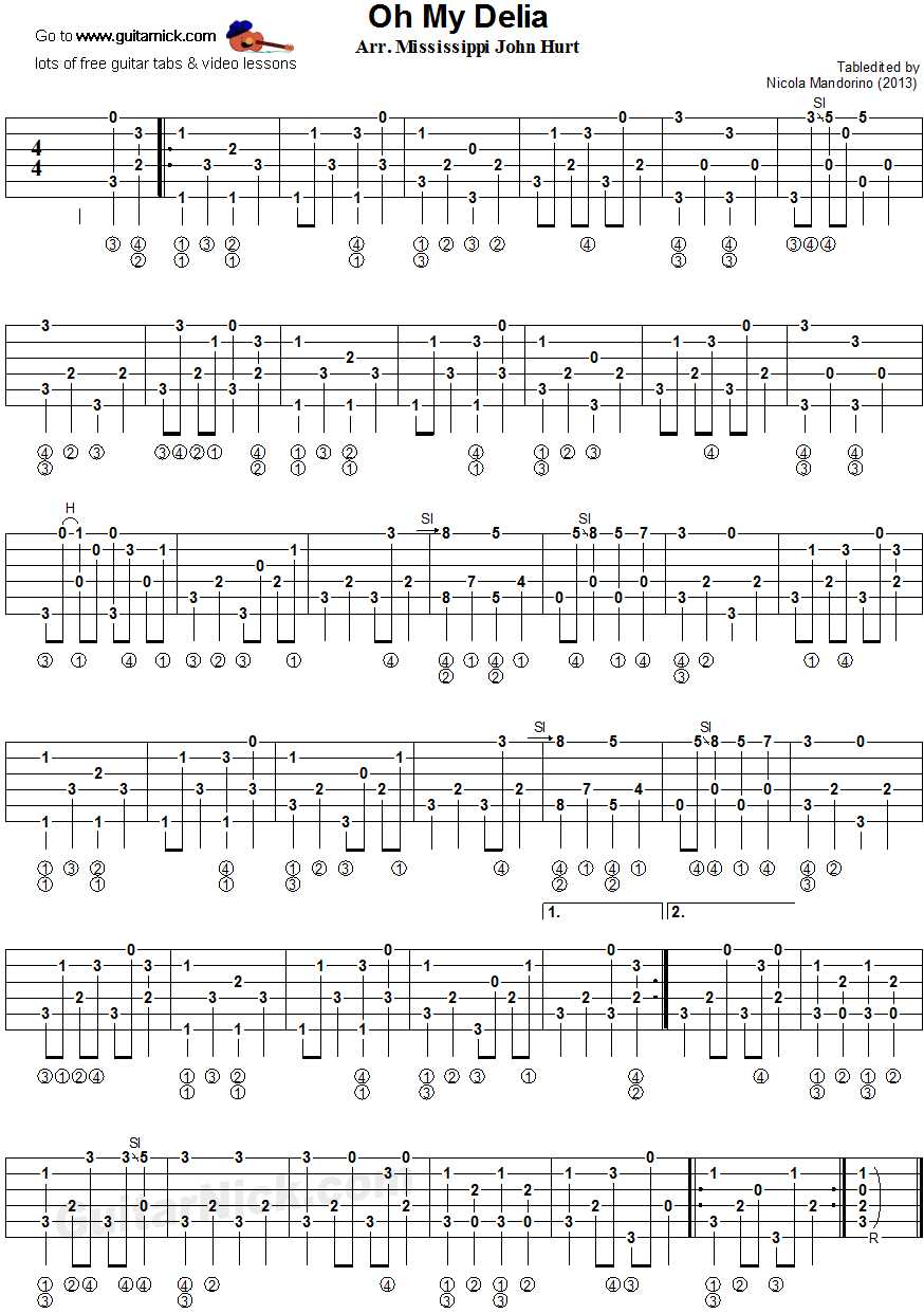Oh My Delia - fingerpicking guitar tablature