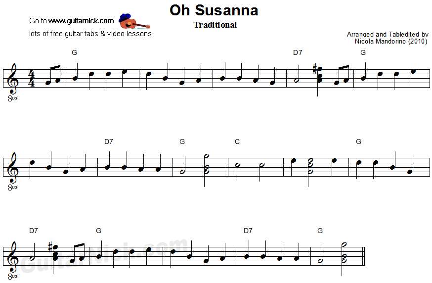 OH SUSANNA Easy Guitar Lesson: GuitarNick.com