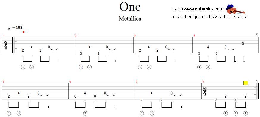 One - Metallica: guitar tab - GuitarNick.com