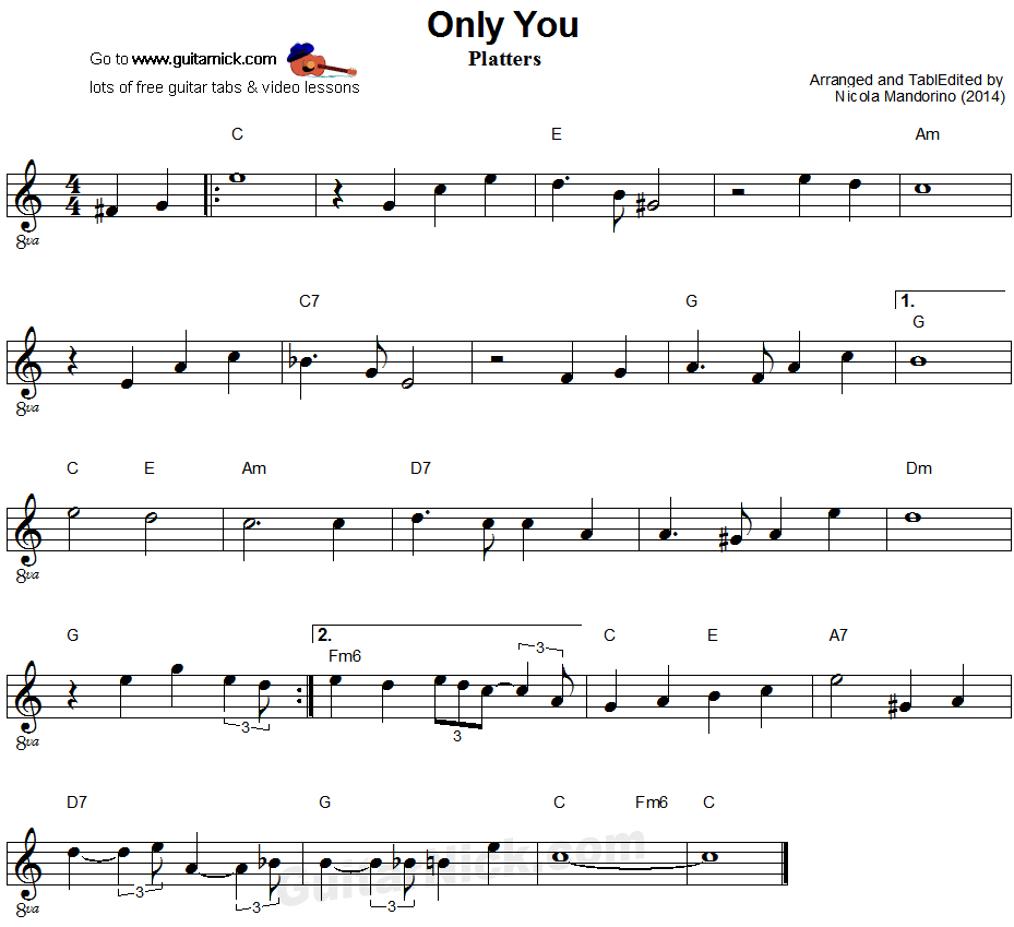 Only You - easy guitar sheet music