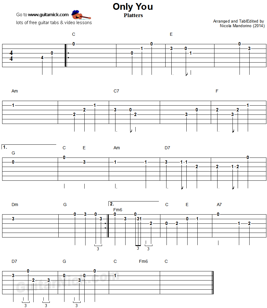 Only You - easy guitar tablature