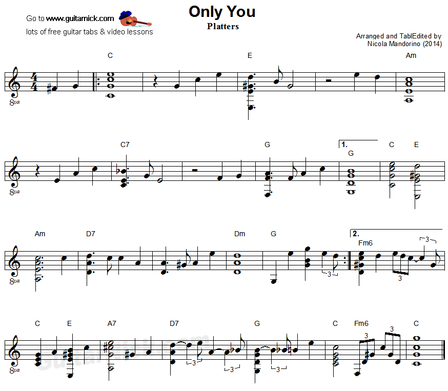 All Music Chords only you sheet music free : ONLY YOU Fingerstyle Guitar Lesson: GuitarNick.com