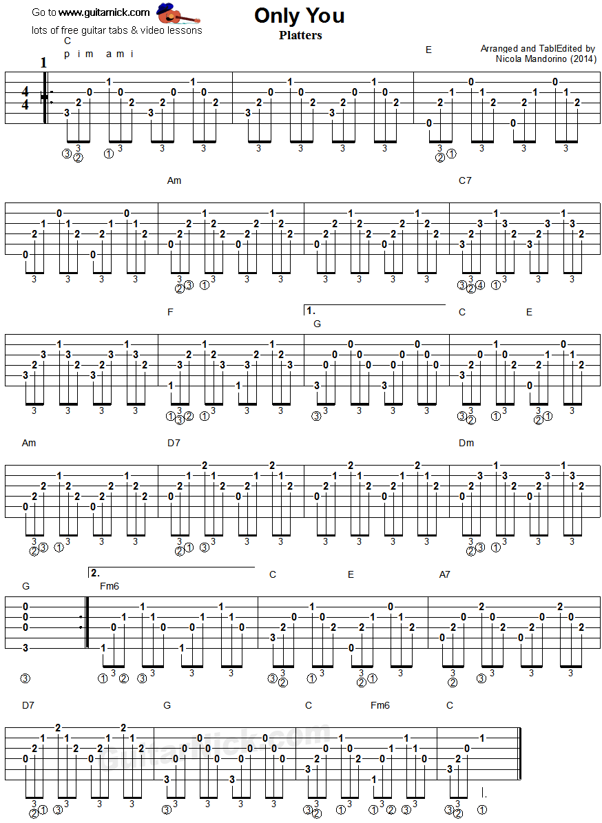 Only You - guitar accompaniment tablature