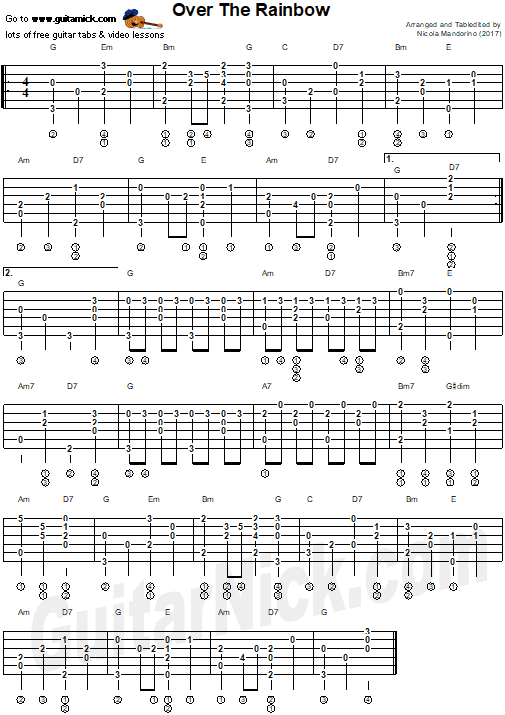 OVER THE RAINBOW - fingerstyle guitar tab