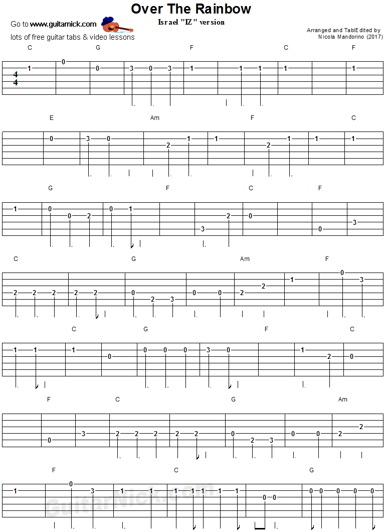 Over The Rainbow - easy guitar tab 1