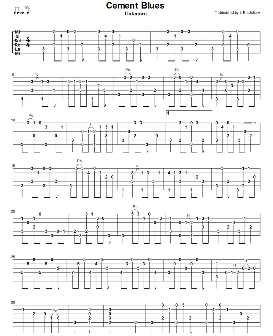 Cement Blues 1 - fingerstyle blues tab