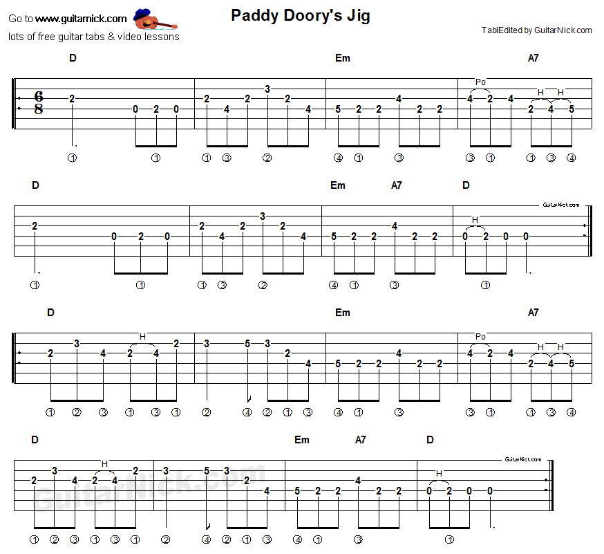 Paddy Dooryu0026#39;s Jig: sheet music + guitar TAB - GuitarNick.com