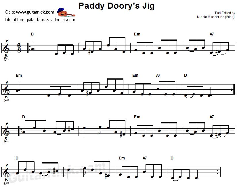 Paddy Dooryu0026#39;s Jig: sheet music + guitar TAB - GuitarNick.com