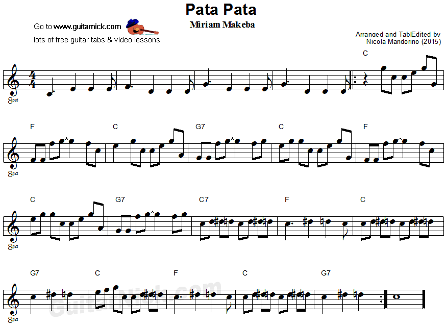 Pata Pata - easy guitar sheet music