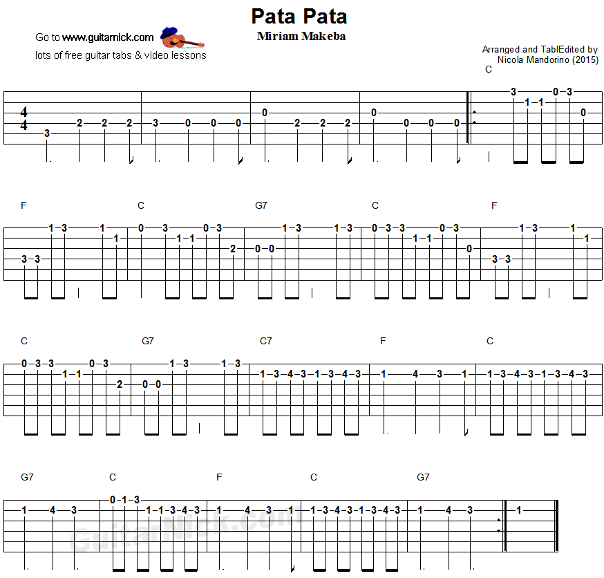 Pata Pata - easy guitar tablature