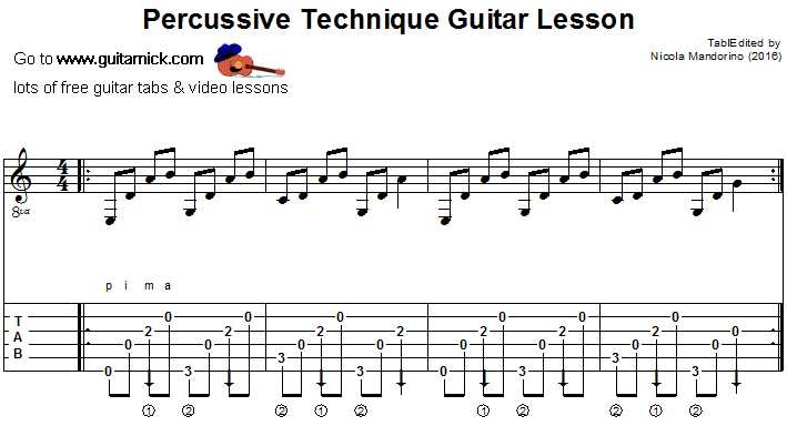 Percussive Technique - fingerstyle guitar tab