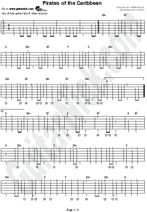 PIRATES OF THE CARIBBEAN: Guitar Tab - GuitarNick com
