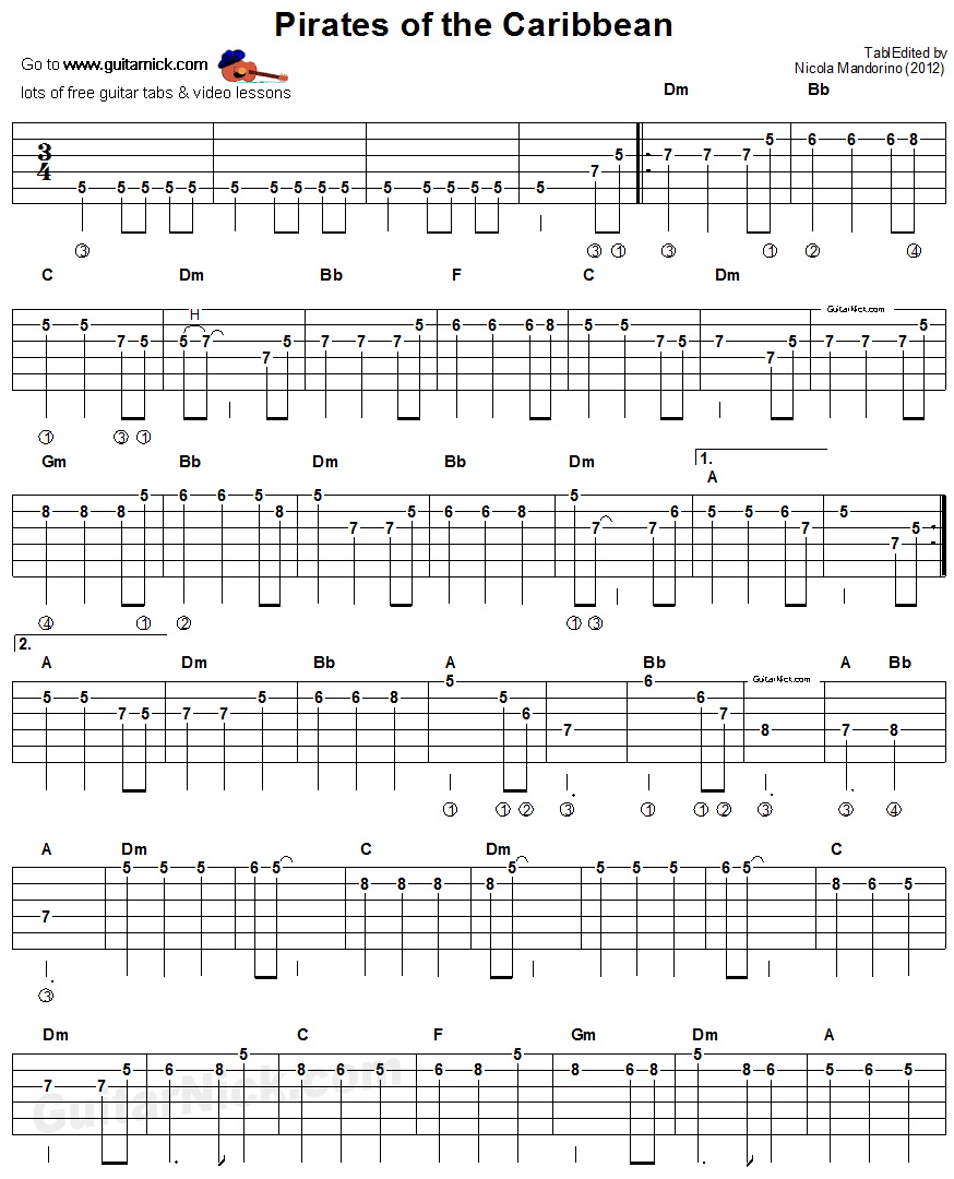 Pirates Of The Caribbean - electric guitar tablature 1