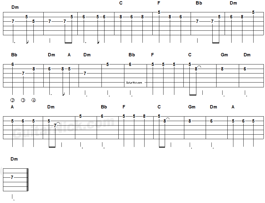 Pirates Of The Caribbean - electric guitar tablature 2